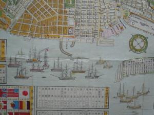 税関前の大波止場と蒸気船