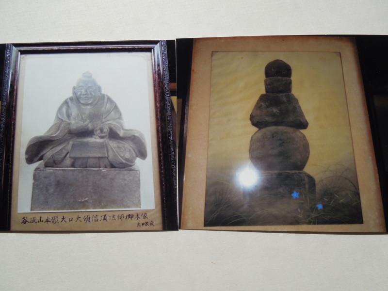 4)大領の木像(左)と奥方の五輪塔(右)